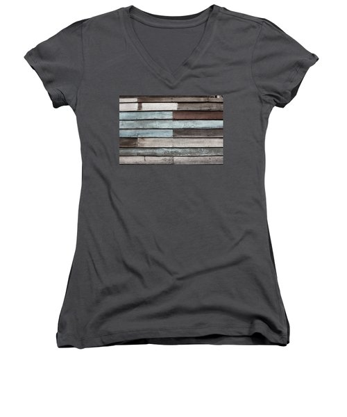 Old Pale Wood Wall Women's V-Neck T-Shirt