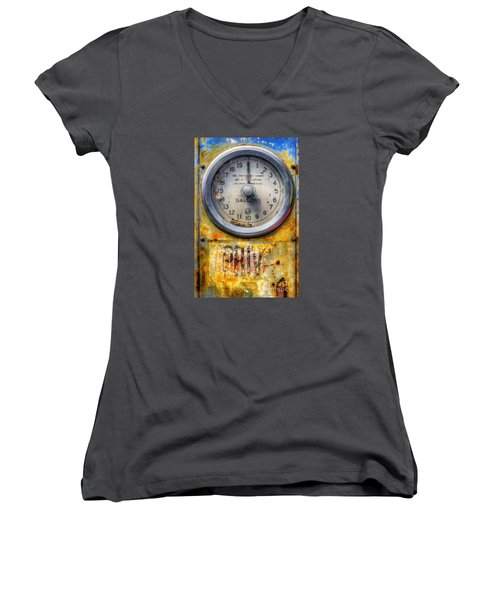 Old Petrol Pump Gauge Women's V-Neck T-Shirt (Junior Cut) by Ian Mitchell