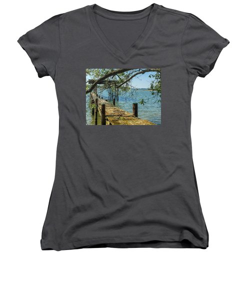 Women's V-Neck T-Shirt featuring the photograph Old Pier On The Tred Avon by Charles Kraus