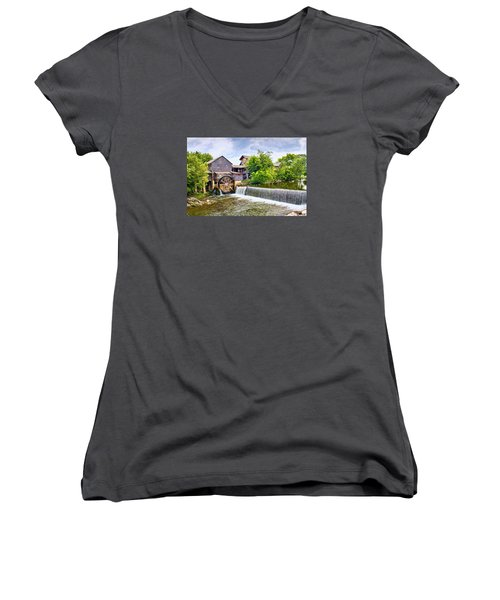Old Pigeon Forge Mill Women's V-Neck T-Shirt (Junior Cut) by Scott Hansen