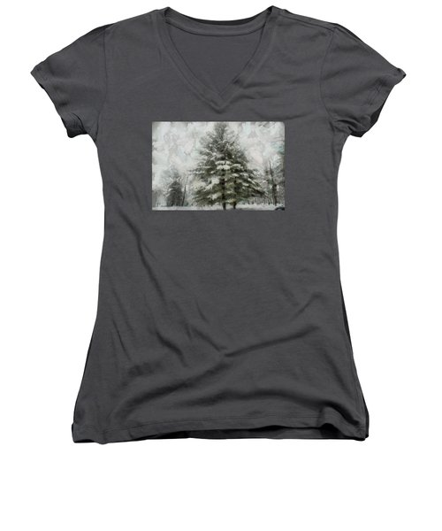 Women's V-Neck T-Shirt (Junior Cut) featuring the mixed media Old Piney by Trish Tritz