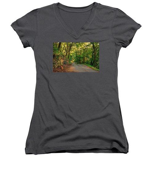 Women's V-Neck T-Shirt (Junior Cut) featuring the photograph Old Plank Road by Cricket Hackmann