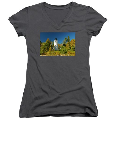 Old Presque Isle Lighthouse_9488 Women's V-Neck T-Shirt (Junior Cut) by Michael Peychich