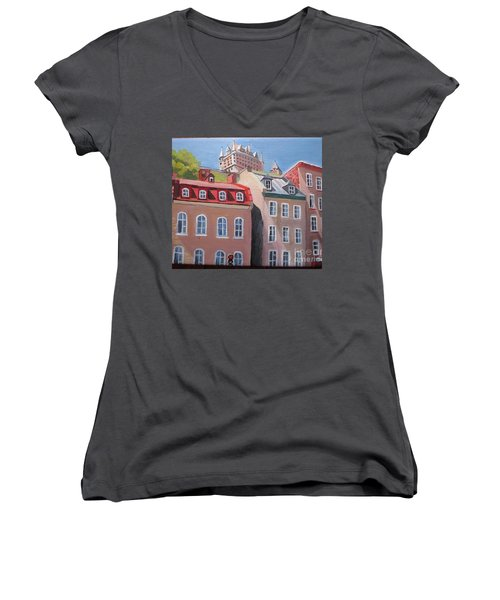 Old Quebec City Women's V-Neck (Athletic Fit)