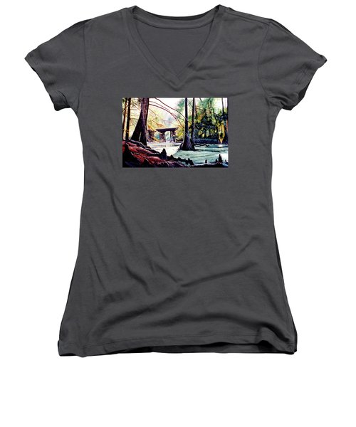 Old Railroad Bridge Women's V-Neck