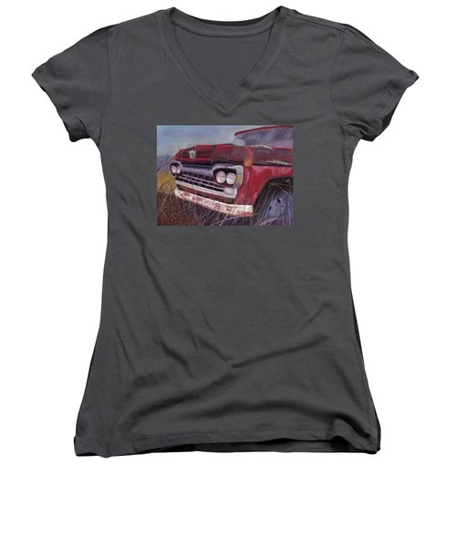 Women's V-Neck T-Shirt (Junior Cut) featuring the painting Old Red by Arlene Crafton