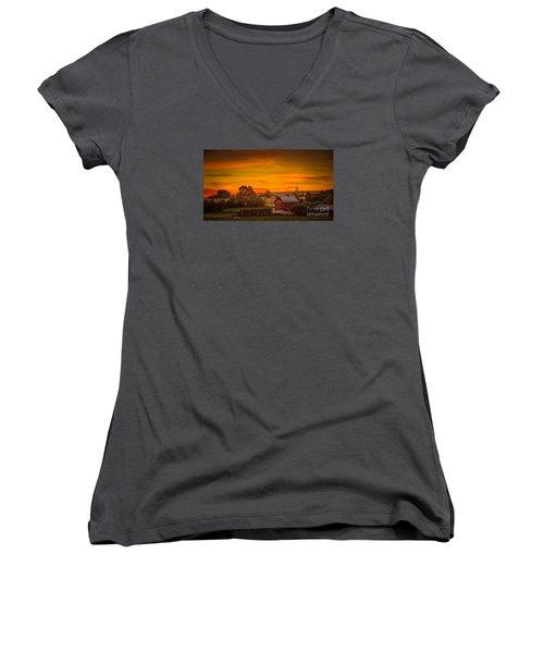 Old Red Barn Women's V-Neck T-Shirt (Junior Cut) by Robert Bales