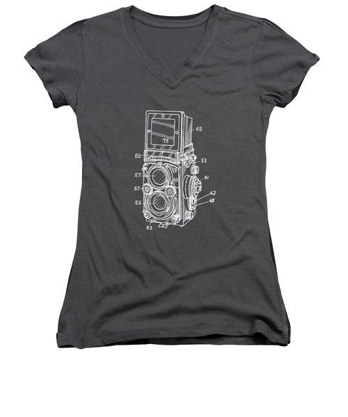 Old Rollie Vintage Camera White T-shirt Women's V-Neck