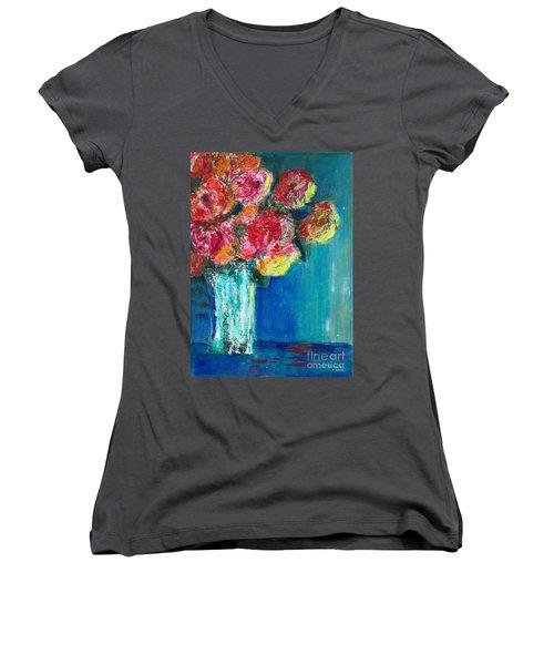Old Roses Women's V-Neck T-Shirt (Junior Cut) by Veronica Rickard