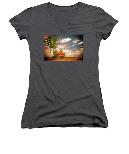 Old Rustic Vintage Farm House And Tree Ap Women's V-Neck T-Shirt (Junior Cut) by Dan Carmichael