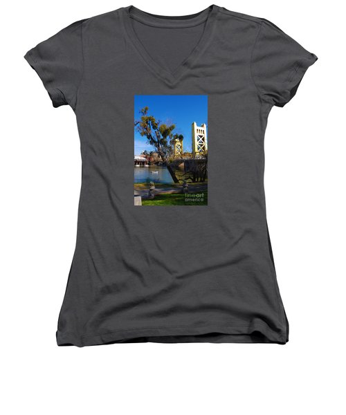 Women's V-Neck T-Shirt (Junior Cut) featuring the photograph Old Sacramento Tower Bridge by Debra Thompson