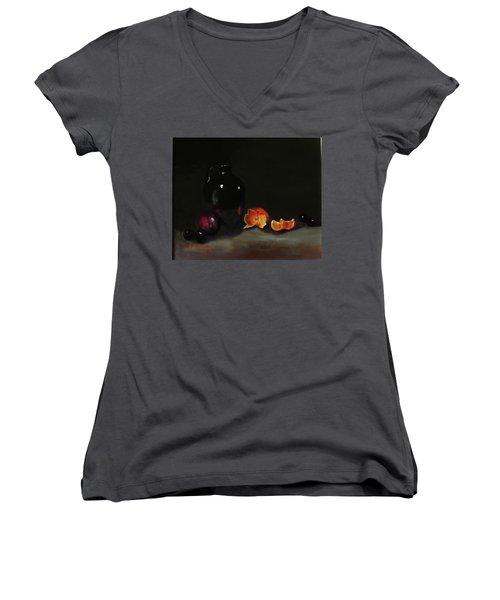 Old Sake Jug And Fruit Women's V-Neck T-Shirt (Junior Cut) by Barry Williamson