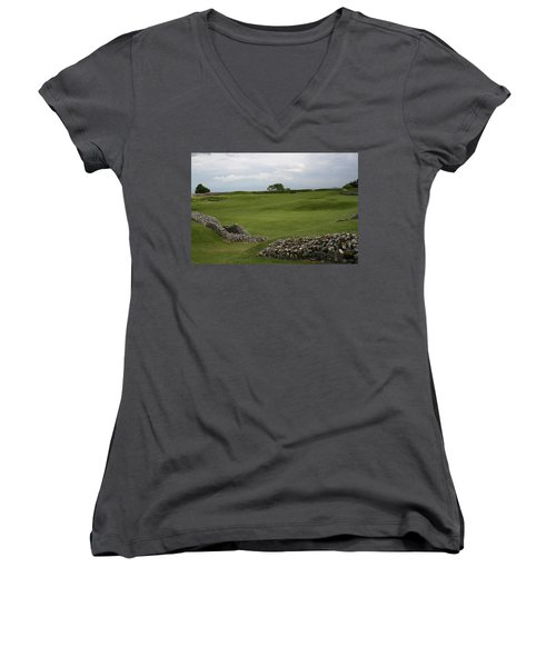 Women's V-Neck T-Shirt (Junior Cut) featuring the photograph Old Sarum by Mary Mikawoz