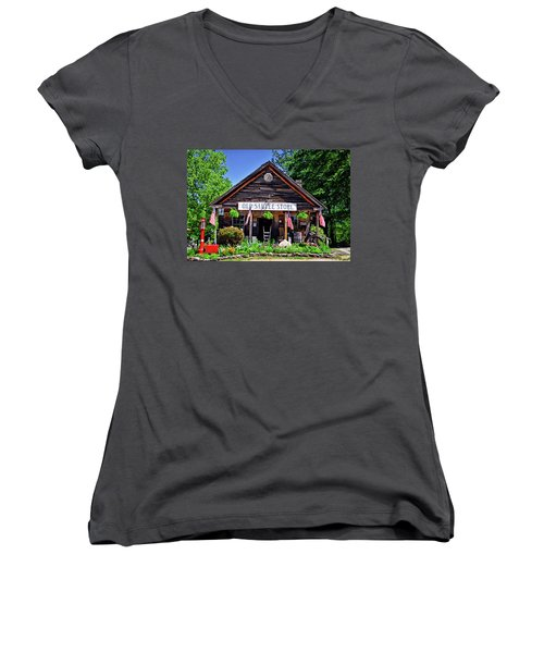 Old Sautee Store - Helen Ga 004 Women's V-Neck T-Shirt (Junior Cut) by George Bostian