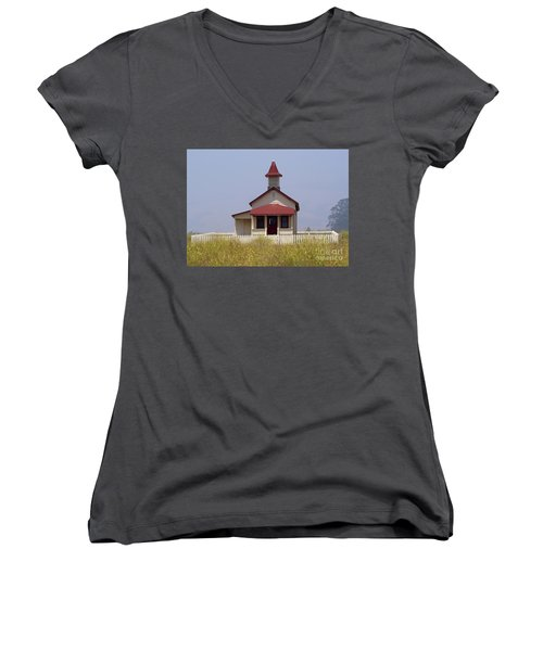 Old School House  Women's V-Neck (Athletic Fit)