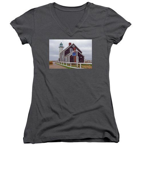 Old Scituate Lighthouse Women's V-Neck (Athletic Fit)