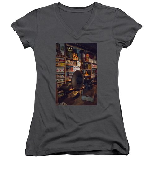 Women's V-Neck T-Shirt (Junior Cut) featuring the photograph Old Shopping Days by Kathleen Scanlan