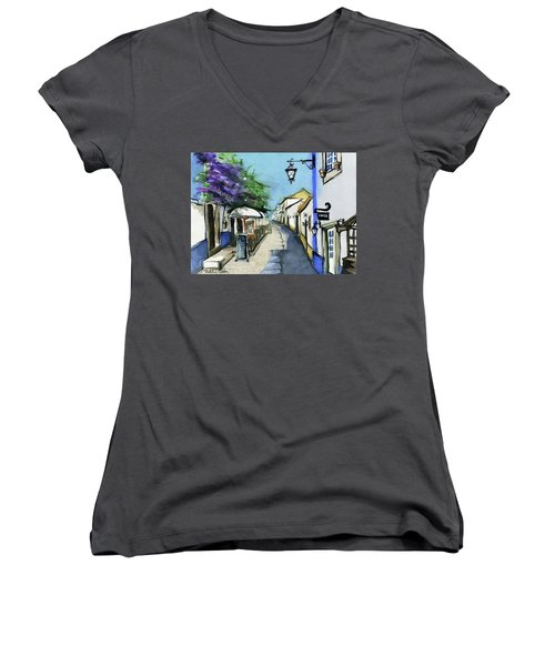 Women's V-Neck T-Shirt featuring the painting Old Street In Obidos, Portugal by Dora Hathazi Mendes