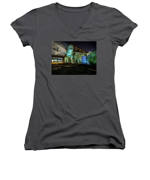 Old Tacoma Industrial Building Light Painted Women's V-Neck