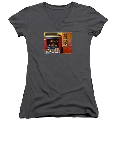 Old Time Kitchen Women's V-Neck T-Shirt (Junior Cut) by Mikki Cucuzzo