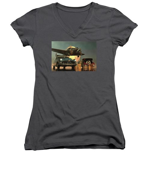 Old-timers With Airplane Women's V-Neck T-Shirt