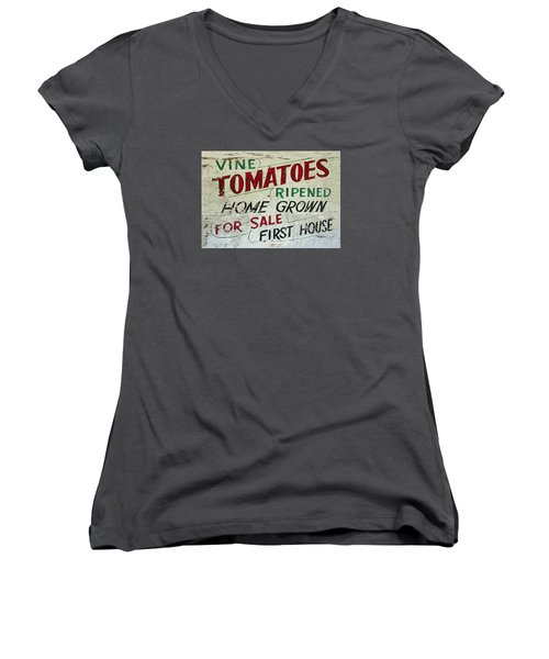 Old Tomato Sign - Vine Ripened Tomatoes Women's V-Neck T-Shirt (Junior Cut) by Rebecca Korpita