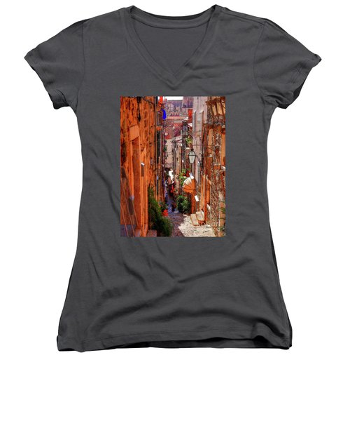 Old Town Dubrovniks Inner Passages Women's V-Neck (Athletic Fit)