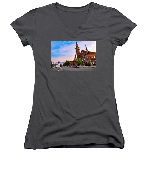 Women's V-Neck featuring the photograph Old Town Hall Easthampton, Ma by Sven Kielhorn