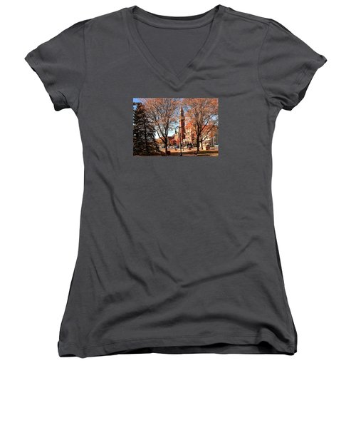 Old Town Hall In The Fall Women's V-Neck