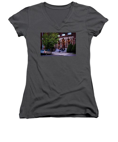 Women's V-Neck featuring the photograph Old Town Hall In The Summer by Sven Kielhorn