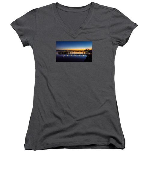 Old Town Pier Blue Hour Sunrise Women's V-Neck T-Shirt (Junior Cut) by Rob Green