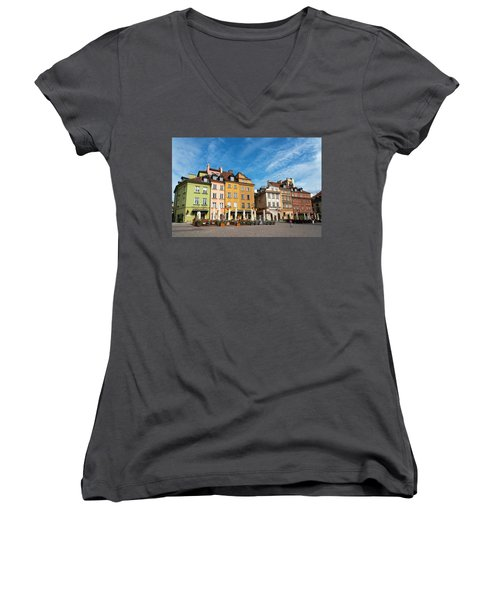 Women's V-Neck T-Shirt (Junior Cut) featuring the photograph Old Town Warsaw by Chevy Fleet