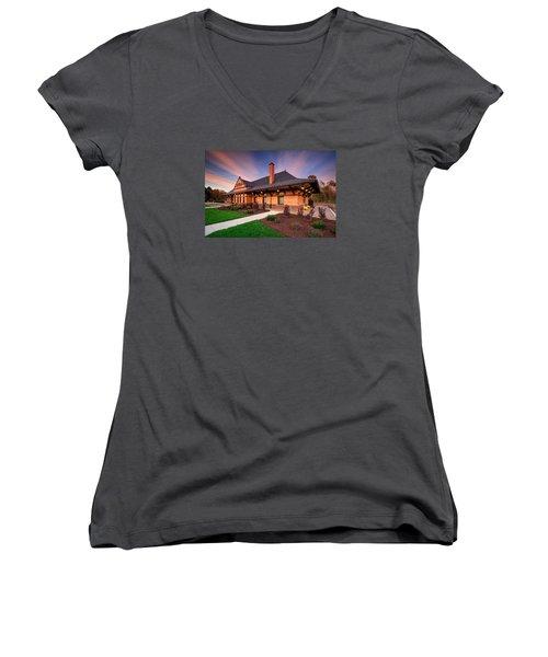 Old Train Station Women's V-Neck T-Shirt (Junior Cut) by Emmanuel Panagiotakis