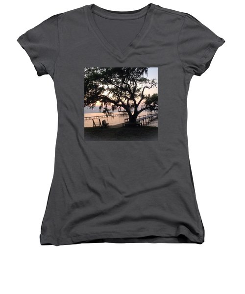 Women's V-Neck T-Shirt (Junior Cut) featuring the photograph Old Tree At The Dock by Christin Brodie