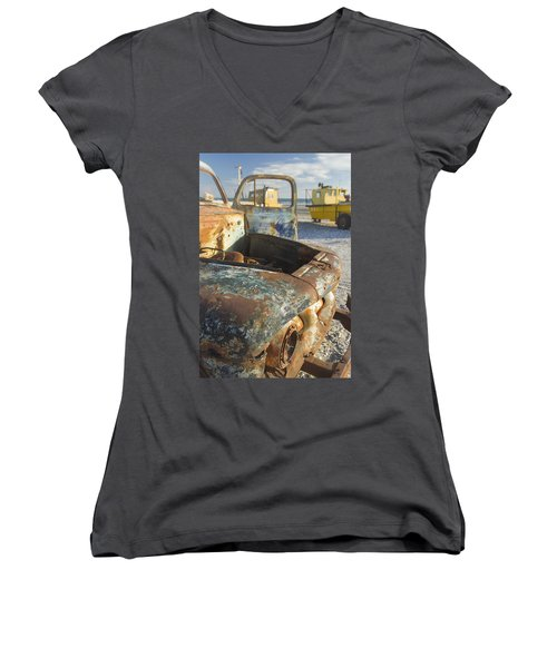 Old Truck In The Beach Women's V-Neck T-Shirt (Junior Cut) by Silvia Bruno