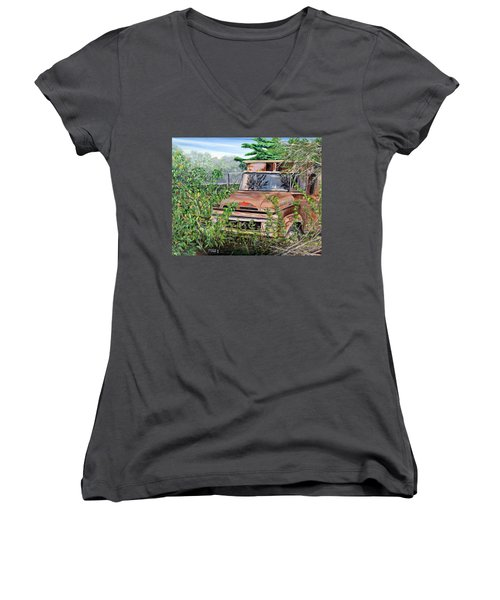 Women's V-Neck T-Shirt (Junior Cut) featuring the painting Old Truck Rusting by Marilyn  McNish