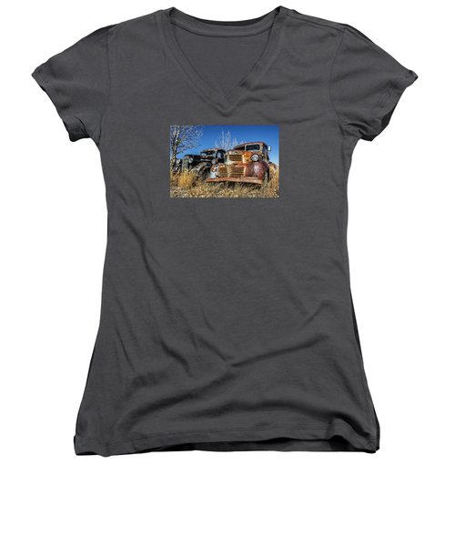 Old Trucks Women's V-Neck