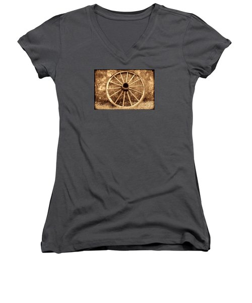 Old Wagon Wheel Women's V-Neck T-Shirt (Junior Cut) by American West Legend By Olivier Le Queinec