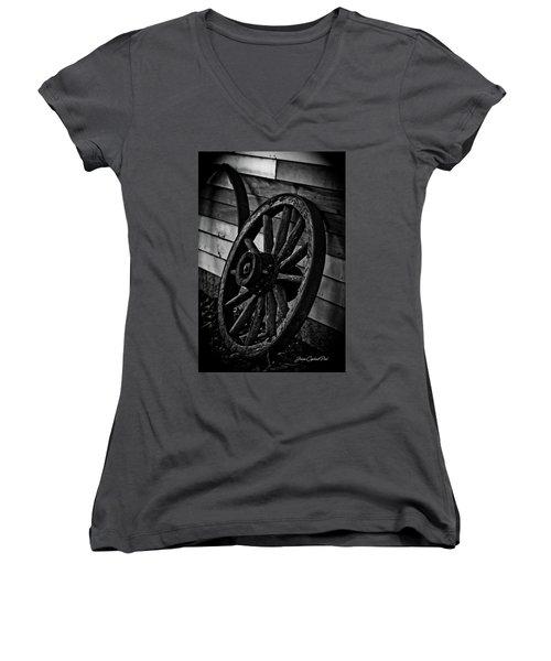 Old Wagon Wheel Women's V-Neck T-Shirt (Junior Cut) by Joann Copeland-Paul