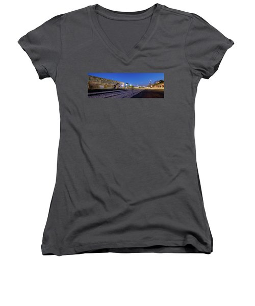 Old Wall Signage - San Antonio  Women's V-Neck T-Shirt (Junior Cut) by Micah Goff