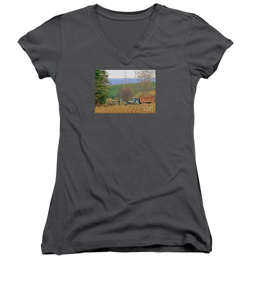 Women's V-Neck T-Shirt (Junior Cut) featuring the photograph Old Warriors by Christian Mattison