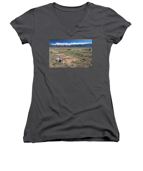 Old West Rocky Mountain Cemetery View Women's V-Neck T-Shirt (Junior Cut) by James BO Insogna