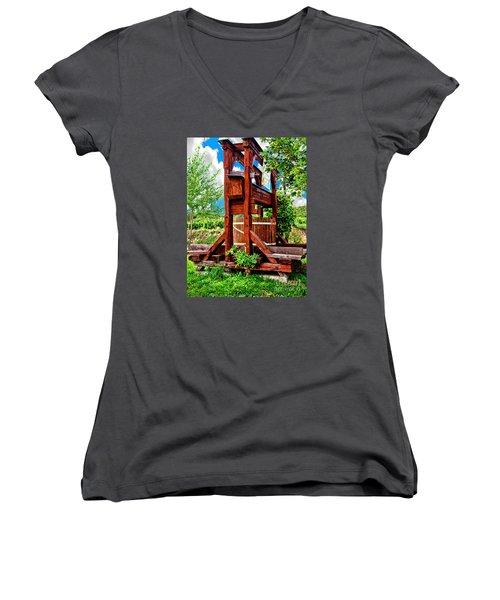 Old Wine Press Women's V-Neck T-Shirt (Junior Cut) by Mariola Bitner