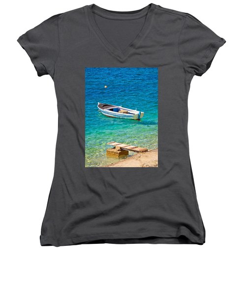 Old Wooden Fishermen Boat On Turquoise Beach Women's V-Neck T-Shirt (Junior Cut) by Brch Photography