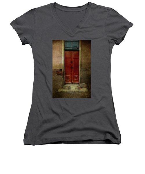 Old Wooden Gate Painted In Red  Women's V-Neck T-Shirt (Junior Cut) by Jaroslaw Blaminsky