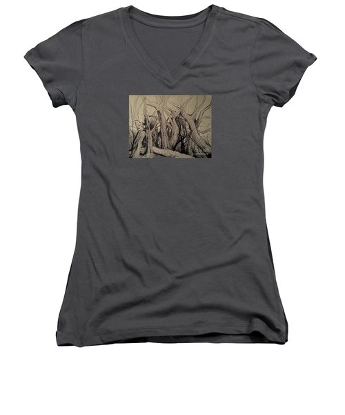 Women's V-Neck T-Shirt (Junior Cut) featuring the painting Old Woods by Maja Sokolowska