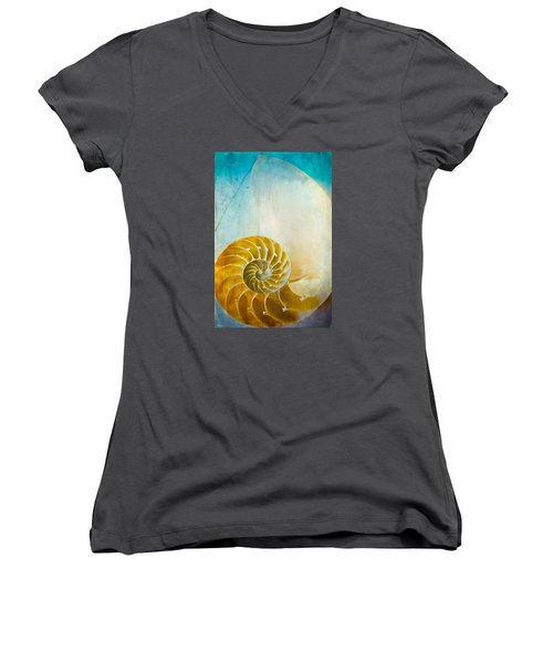 Old World Treasures - Nautilus Women's V-Neck T-Shirt (Junior Cut) by Colleen Kammerer