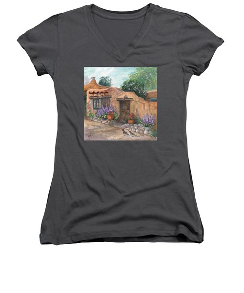 Women's V-Neck T-Shirt (Junior Cut) featuring the painting Old Adobe Cottage by Marilyn Smith