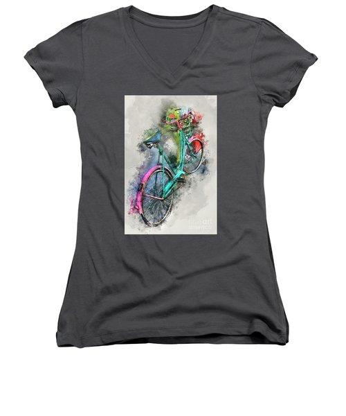Olde Vintage Bicycle Women's V-Neck T-Shirt