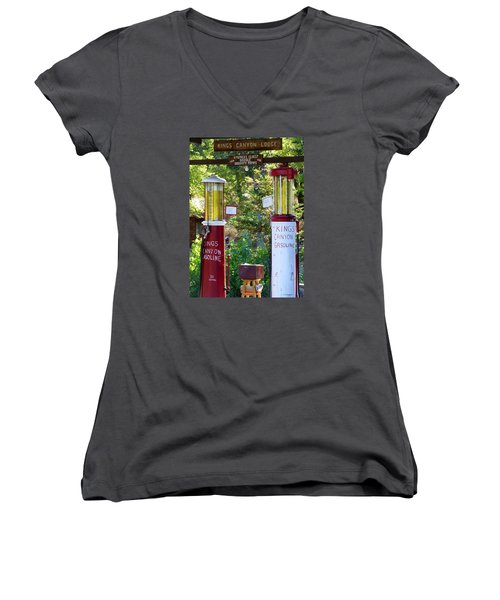 Oldest Dbl. Gravity Gas Pumps 1928 Women's V-Neck T-Shirt (Junior Cut) by Amelia Racca
